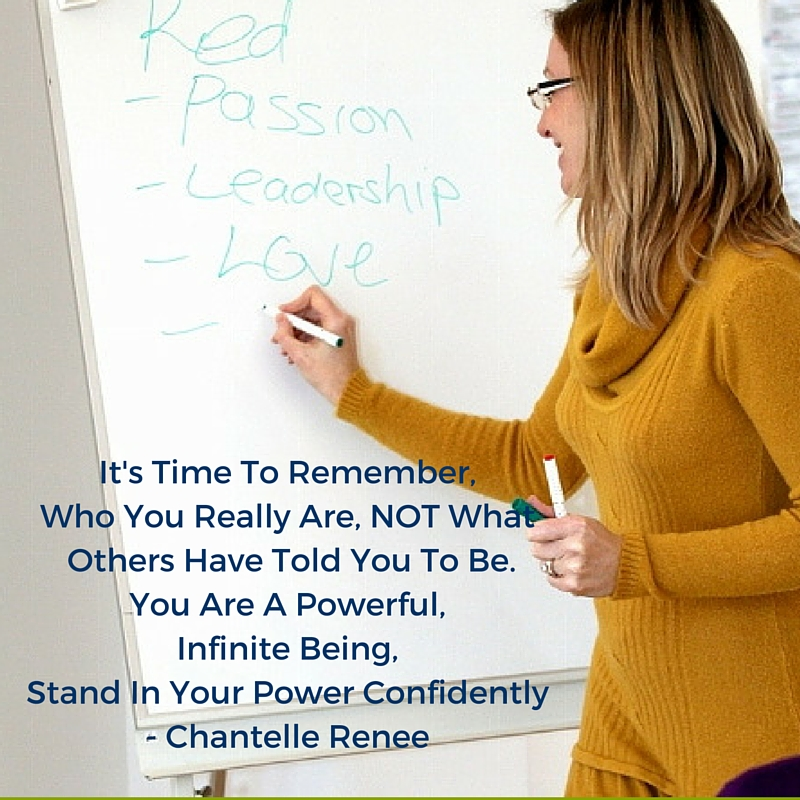 It's time to remember, who you really are, not what othershave told you to be. You are a powerful, infinite being, stand in your power confidently- Chantelle Renee
